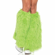 FURRY LEG WARMERS GREEN NEON ADULT HALLOWEEN COSTUME ACCESSORY SIZE STANDARD