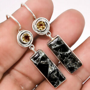 Silver Black Turquoise and Smoky Quartz 925 Silver Earrings Jewelry 9077