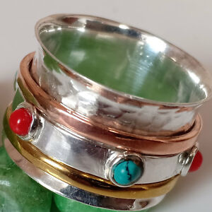 Coral And Turquoise GemStone 925 Sterling Silver Spinner Ring For Christmas Gift