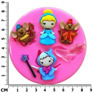 Cinderella Fairy Godmother Jaq & Gus Princess Silicone Mould by Fairie Blessings