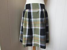 MARGARET HOWELL checked wool/linen softly pleated skirt - UK12