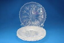 VINTAGE CLEAR INDIANA PEBBLE  GLASS LEAF TREE OF LIFE LUNCHEON PLATES SET OF 4