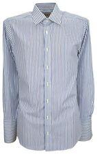 Ex Store Mens Pure Cotton Slim Fit Double Cuff Shirt Blue 16