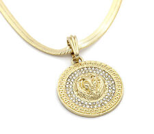 "Mens Medallion Patern Lion Gold Plated 24"" herringbone Chain Pendant Necklace"