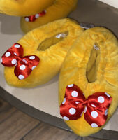 Minnie Mouse Feet Heels Slippers Adult Sz Large Yellow Disney World Parks NEW
