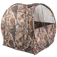 Portable Hunting Tent Blind Waterproof Camouflage Ground Blind w/ Mesh Window