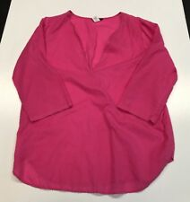 J.CREW Pink Cotton V-neck blouse with silver beading Medium M 12937