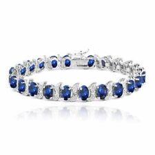 Sterling Silver Sapphire Tennis Fine Bracelets