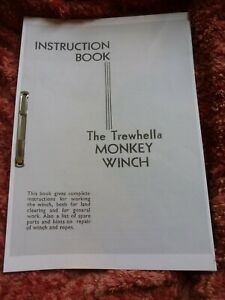 The Trewhella MONKEY WINCH USER MANUAL AND SPARE PARTS GUIDE - TREE PULLER - A4
