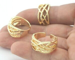 Statement ring Adjustable Shiny gold plated brass (18mm 8US inner size) 3367