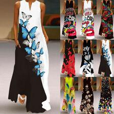 UK Women Plus Size Boho Vest Dress Ladies Summer Beach Floral Maxi Kaftan Dress