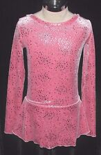 PINK SILVER Ice Figure Skating Competition Dress / Girls X - Small 5 / 6 / 6X