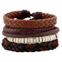 Women Men Multilayers Leather Weaved Wooden Beads Cuff Bangle Wristband Bracelet
