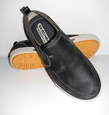 New Skechers Men Talon Charcoal Slip On Distressed Leather Loafers Shoes sz 8