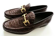SALVATORE FERRAGAMO Brown Crocodile Leather Shoes Size 10 US 44 Euro 9 UK