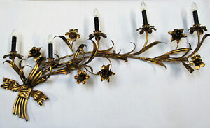 """Vintage HUGE Italian Tole Wall Sconce Gold Gilt 48"""" Wide 5 Light Rewired"""
