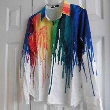 "NWOT Multicolor Men's Shirt, Dripping Paint Pattern, Nylon, Non-Iron, S/M, 17.5"""