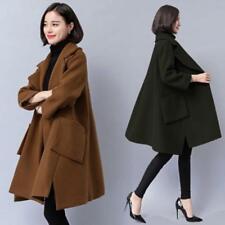 Women Winter Warm Wool Blend Baggy Cape A-style Coats Jackets Outdoor Mid Long