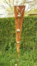 Gartendeko Rost Stab  mit 3 Edelstahlkugeln Eisen Skulptur