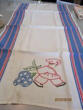VINTAGE HAND EMBROIDERED  CHEF  DECORATIVE SHOW DISH TOWEL
