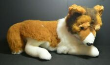 "Large 19"" Rare Discontinued FAO Schwarz PLUSH Brown White Border Collie DOG"