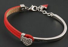 GUESS Damen Armband Armkette Farbe silber Lederband pink USB21302 NEU 2