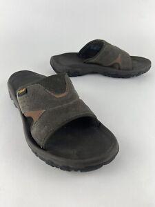 TEVA Katavi 2 Slide Sandals Suede Leather 1019195 Mens Sz 8 Gray Brown