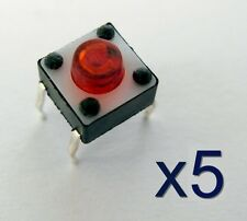 5x Rupteur commutateur Micro Switch 6x6x5mm / 5x red Button Switch Touch Contact