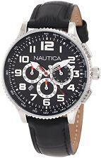 Nautica N22596M Midsize Chronograph Watch Round Dial Black Leather Strap OCN 38