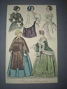 1847 FASHION PLATE COSTUME. ANTIQUE HAND COLOURED ENGRAVED PRINT 25cm X16cm (L)