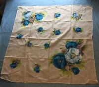 Vintage Ladies Scarf Made in Japan Floral Tan Blue Color Clothing Accessory