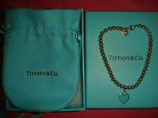"Tiffany & Co. Sterling Silver BEADED bracelet enamel heart 7"" RETURN TO gift box"