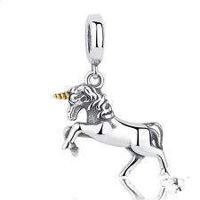 2pcs Silver Horse European Charm Beads Fit 925 Necklace Bracelet Chain DIY SQ92
