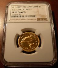 Egypt 1988 Gold 50 Pounds NGC PF68 Cameo Ski Jumper Mintage - 50