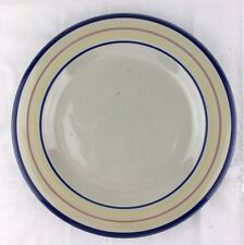"EUC Louisville Stoneware 11"" Dinner Plate Blue Trim Thin Blue Pink Yellow Band"