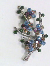 Vintage Monet Brooch Colorful Rhinestones on Silver Tone Branch