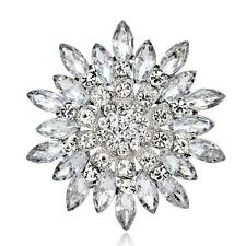 Silver Large Flower Bridal Brooch Rhinestone Crystal Diamante Wedding Broach Pin