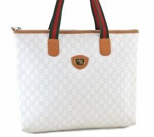 Auth GUCCI Web Sherry Line GG Plus Shoulder Tote Bag PVC Leather White E0700