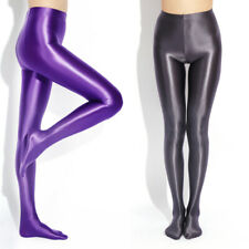 Women SHINY LIQUID WET LOOK Footed Tights Satin Glossy Opaque Silky Pantyhose