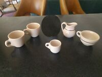 5 pc TEPCO  WALLACE CHINA RESTAURANT WARE TAN COFFEE CUPS MUG DEMITASSE CREAMER