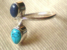 STERLING SILVER BAND RING with TURQUOISE & LAPIS STONES UK.size M £15.95 NWT