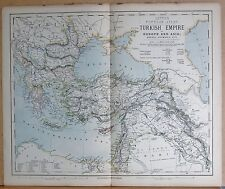 1883  ANTIQUE MAP TURKISH EMPIRE IN EUROPE AND ASIA, GREECE, ROUMANIA