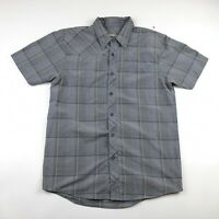 Under Armour Mens Short Sleeve Gray Check AllSeason Button Down Shirt Medium