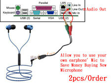 3.5mm Stereo Audio 2 Male To 1 Female Headphone Mic Y Splitter Cable Adapter