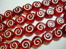24 - 8mm Red with Silver Snail Shell Swirl Spiral Coin Czech Glass Beads
