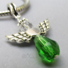 Green Swarovski Crystal Angel European Charm, Emerald Peridot Birthstone Pendant