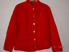 Red Boiled Wool Jacket German M L 46 LITZA Felted Suit Coat Coin Buttons Solid