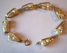 "14k Yellow Gold Floating Pearl Link Bracelet 7 1/4"" Long"