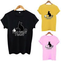 Womens Ladies Cat Print Summer Loose Tops Casual Short Sleeve Blouse T Shirt Tee