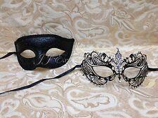 Couple Lover Black Charming Men's Mask + Black Metal  Masquerade Prom Mask C003